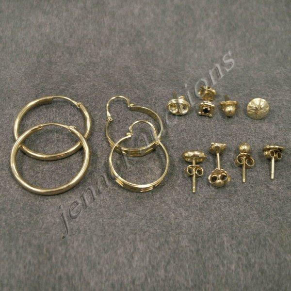 17: LOT (6) PAIR 18K YELLOW GOLD PIERCED EARRINGS