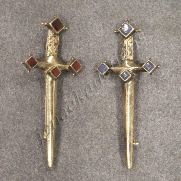 18: PAIR GILT 925 STERLING SWORD PINS SET