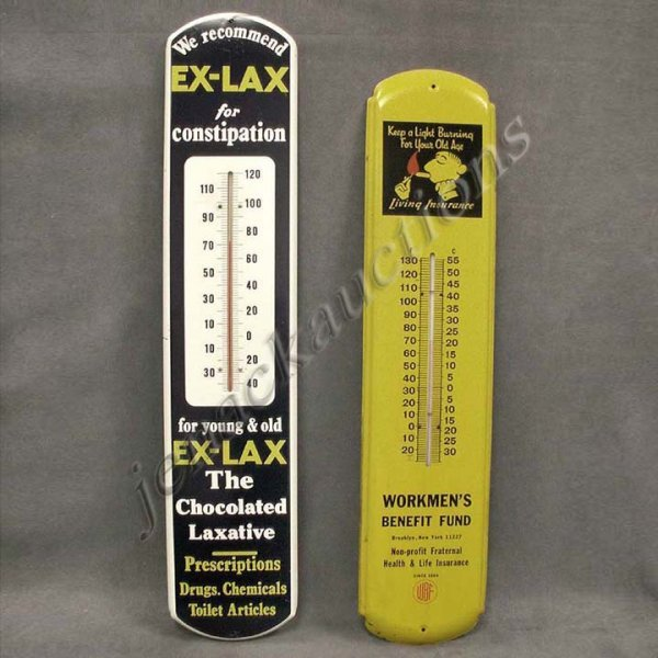 19: LOT (2) STAMPED STEEL ADVERTISING THERMOMETERS