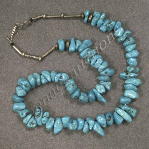 21: LARGE CHUNKY TUMBLED TURQUOISE/SILVER NECKLACE