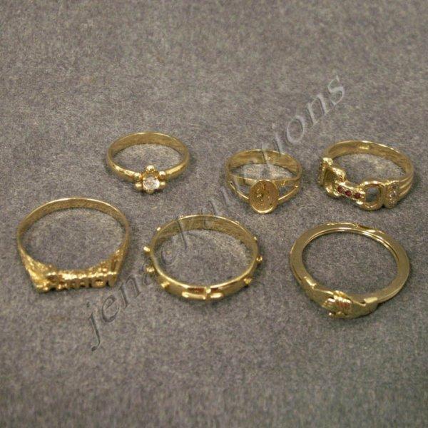 278: LOT (6) YELLOW GOLD RINGS INCL (5) 18K & (1) 14K