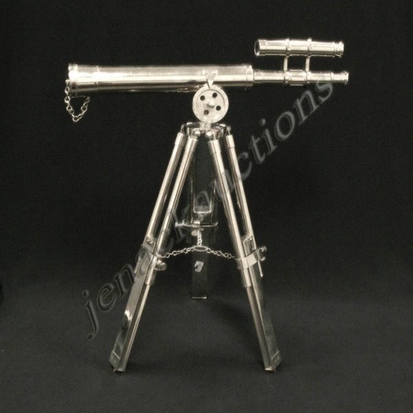 4: CHROMED BRASS TELESCOPE WITH TRIPOD BASE