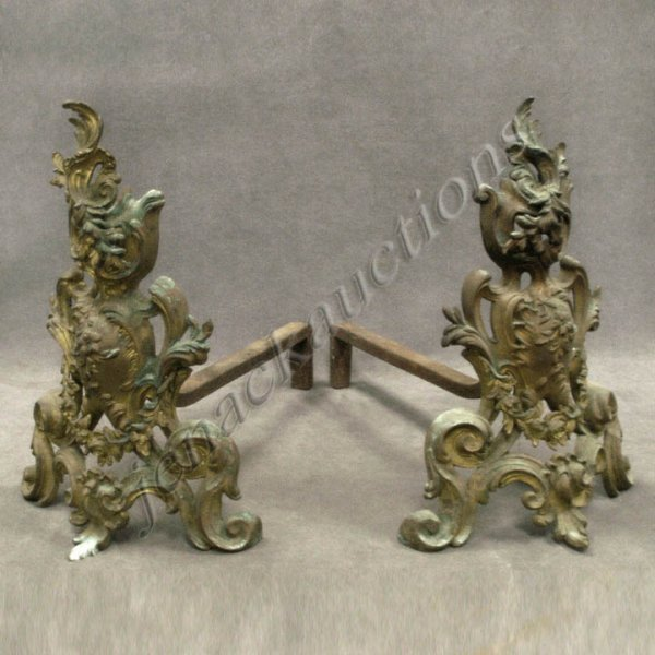 9: PAIR FRENCH LOUIS XV STYLE BRASS CHENETS
