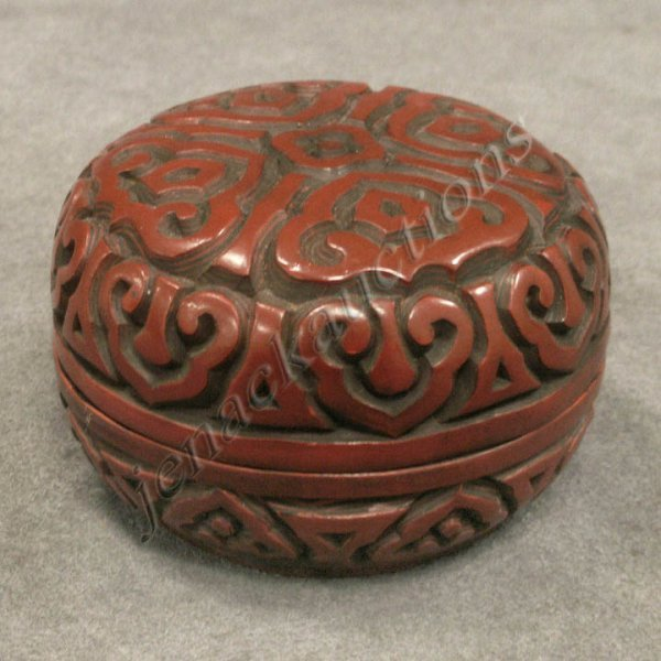 11: CHINESE CARVED CINNABAR COVERED POMADE BOX