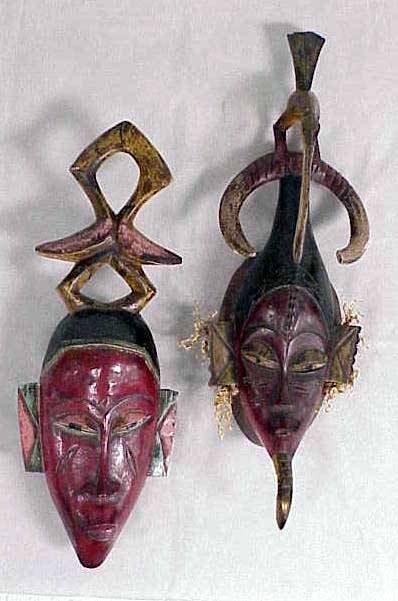 3: LOT (2) SENUFO CARVED/PAINTED MASKS