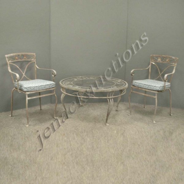 3: WROUGHT IRON  PAIR ARMCHAIRS AND TABLE