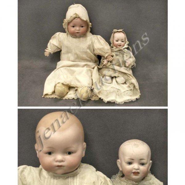 10: LOT (2) GERMAN PORCELAIN BISQUE HEAD INFANT DOLLS I