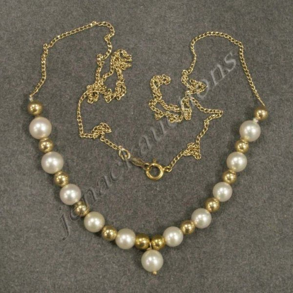 17: 14K YELLOW GOLD & 5.03 MM CULTURED PEARL NECKLACE.