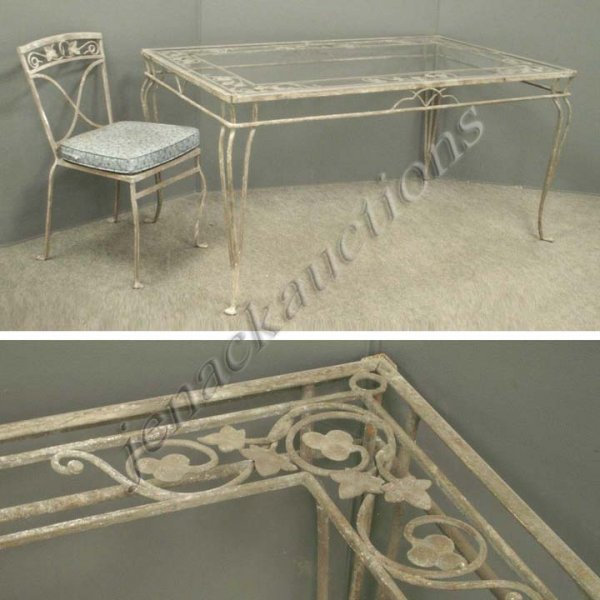 23: WROUGHT IRON PATIO DINING TABLE WITH (6) CHAIRS