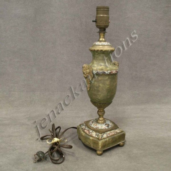 8: FRENCH ALABASTER CHAMPLEVÉ AND ORMOLU TABLE LAMP