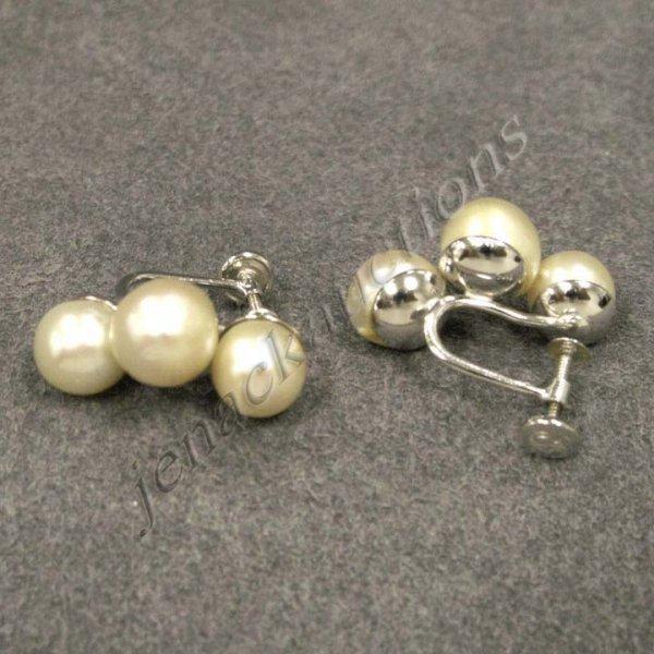 18: 14K WHITE GOLD CULTURED PEARL SCREW-BACK EARRINGS