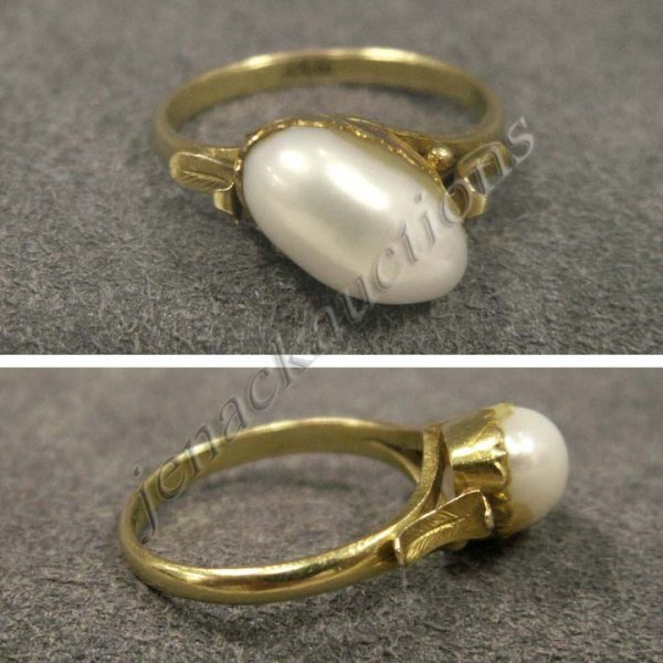 19: 14K YELLOW GOLD & FREE-FORM PEARL RING