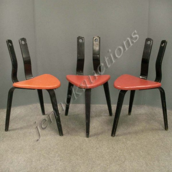 11: SET (3) THONET LACQUERED TRIPOD CHAIRS, SIGNED