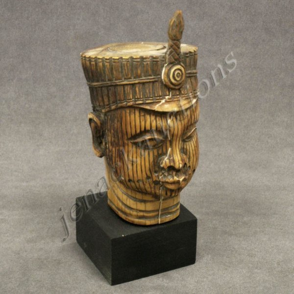 21: BENIN CARVED IVORY HEAD OF AN OBA