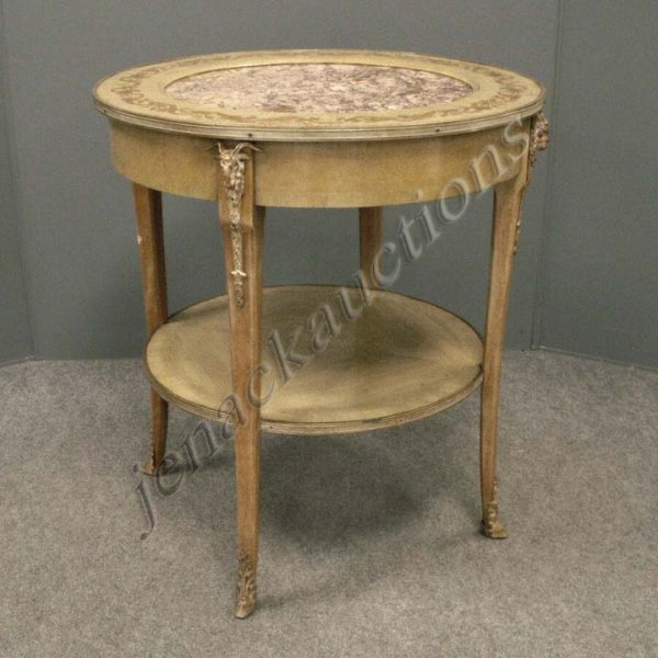 24: PAIR FRENCH EMPIRE STYLE PAINTED, INLAID, MARBLE I