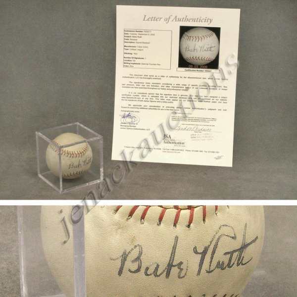 165: BABE RUTH SINGLE SIGNED BASEBALL (OFFICIAL TOBER,