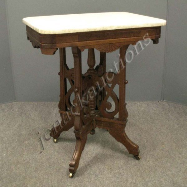 3: VICTORIAN CARVED WALNUT MARBLE-TOP STAND