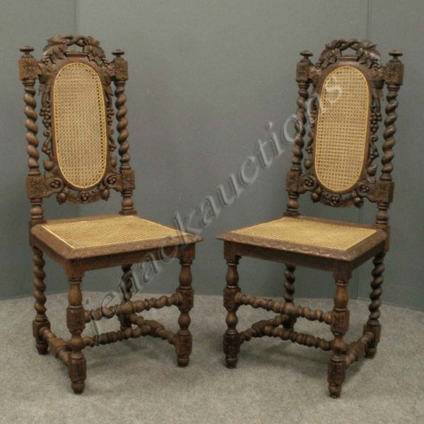 7: PAIR CHARLES II STYLE CARVED OAK SIDE CHAIRS