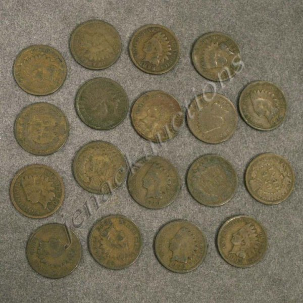 9: LOT (18) ASSORTED INDIAN HEAD CENT COINS