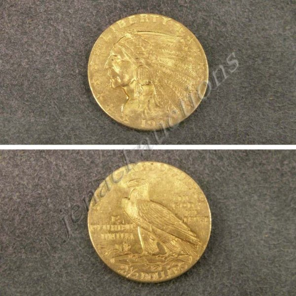 13: 1929 INDIAN HEAD $2.50 GOLD COIN