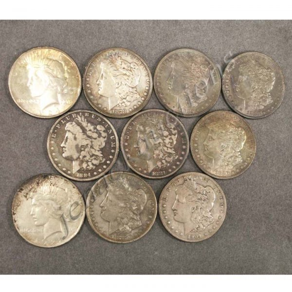 14: LOT (10) MORGAN AND PEACE SILVER DOLLAR COINS