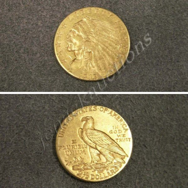 17: 1913 INDIAN HEAD $2.50 GOLD COIN