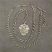 49: LOT (2) ENGLISH SILVER WATCH CHAINS/FOB