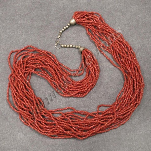 20: SINO TIBETAN MULTI-STRAND CORAL BEADED NECKLACE