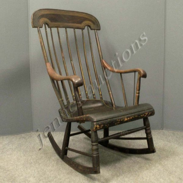 23: GRAINED AND PAINTED BOSTON ROCKER, 19TH CENTURY