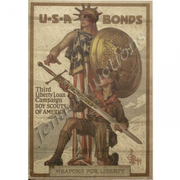 """1: WWI POSTER, """"U.S.A. BONDS, WEAPONS FOR LIBERTY"""