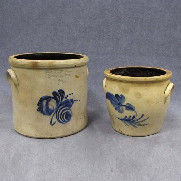 4: LOT (2) DECORATED STONEWARE CROCKS INCLUDING 2-GAL
