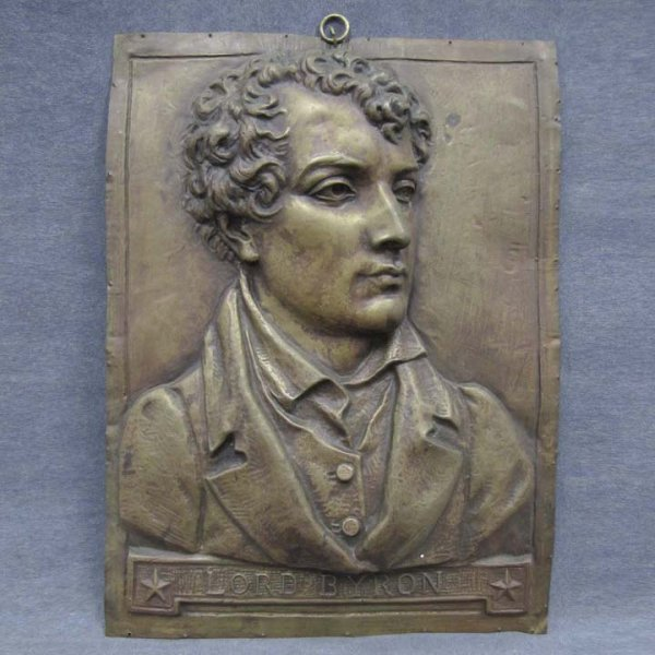 8: BRASS REPOUSSE PLAQUE OF LORD BYRON