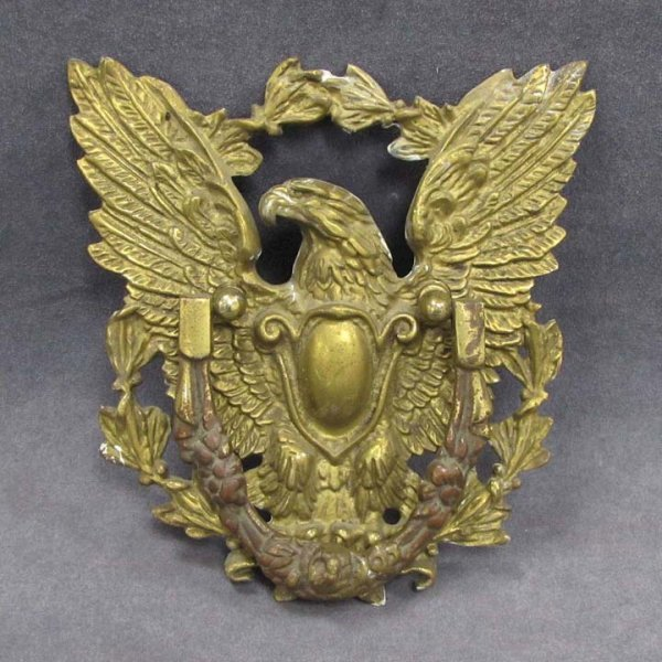 9: CAST AND CHASED BRASS EAGLE DOOR KNOCKER, 19THC