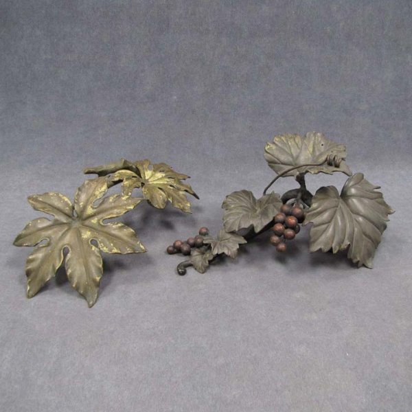 17: LOT (2) CAST/POLYCHROMED BRASS GRAPEVINE