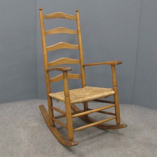 410: DELAWARE VALLEY TIGER MAPLE ARM ROCKING CHAIR