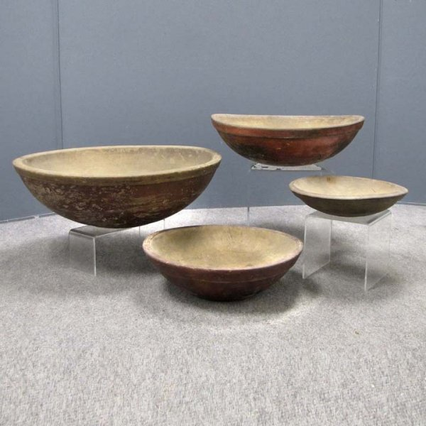 411: LOT (4) NESTING TURNED BOWLS WITH RED WASH