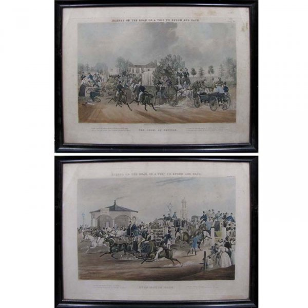 418: LOT (2) HAND COLORED COACHING ENGRAVINGS
