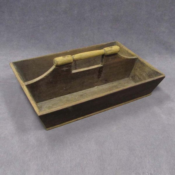 419: PINE 2-SECTION CUTLERY BOX WITH HANDLE