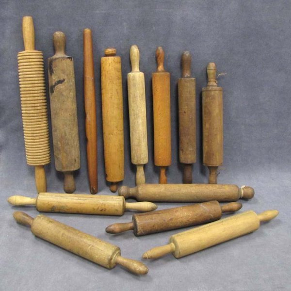 420: LOT (13) ASSORTED WOOD ROLLING PINS