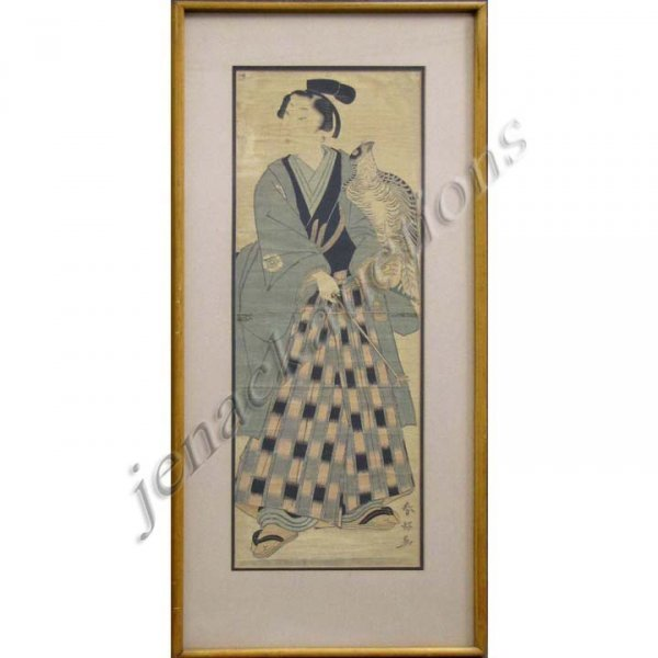 5: VINTAGE JAPANESE WOODBLOCK DIPTYCH PRINT, FALCONER