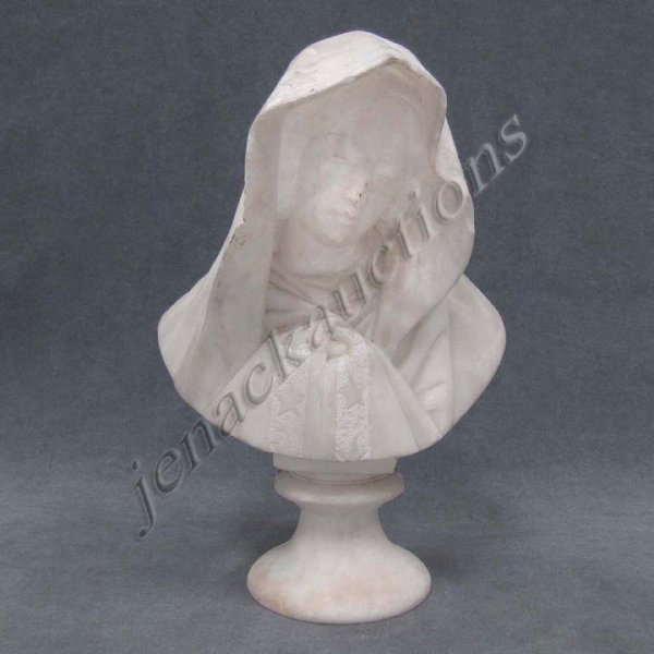 20: CONTINENTAL CARVED MARBLE BUST OF A WOMAN