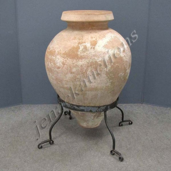 22: SPANISH TERRA-COTTA URN WITH WROUGHT IRON BASE
