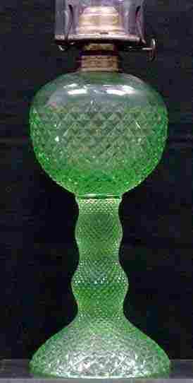 GREEN DIAMOND POINT PATTERN GLASS OIL LAMP