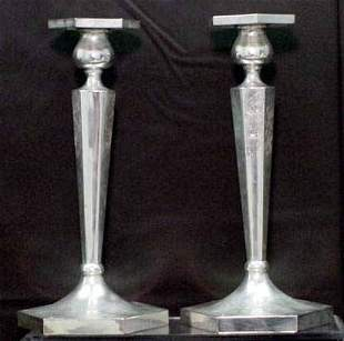 PAIR STERLING ENGRAVED CANDLESTICKS