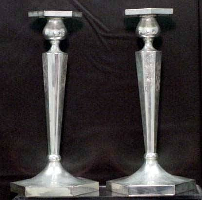 1013: PAIR STERLING ENGRAVED CANDLESTICKS