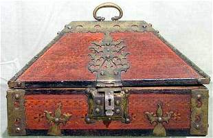 INDIAN PAINTED/BRASS MOUNTED CHEST