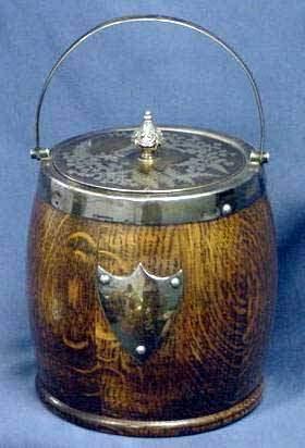 VICTORIAN OAK/SILVER PLATE BISCUIT JAR