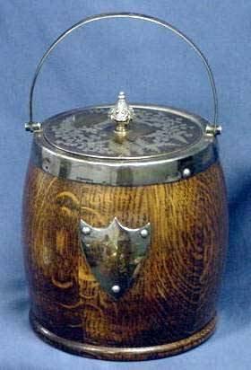 1018: VICTORIAN OAK/SILVER PLATE BISCUIT JAR