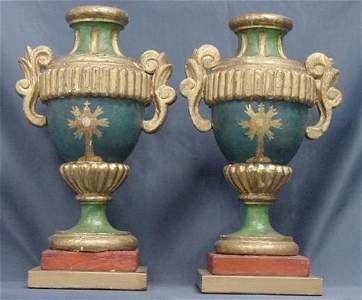 1050: PR ITALIAN PAINTED PINE ALTAR CANDLESTICKS