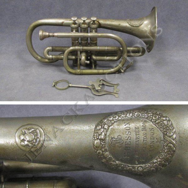 9: VINTAGE SILVER PLATED TRUMPET, SIGNED F. BESSON